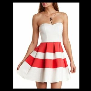 Strapless Orange White Striped Pleated Dress M